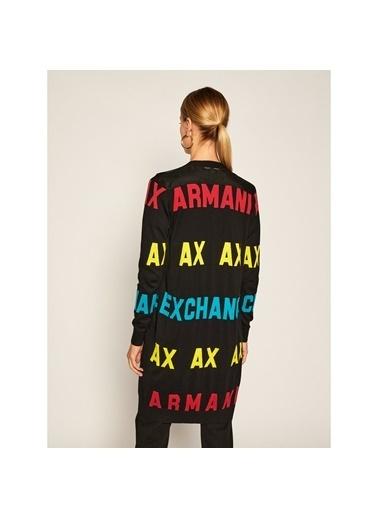 Armani Exchange Armani Exchange 6Hye1Dymd4Z1200 Uzun Kol Logo Baskılı Kadın Hırka Siyah